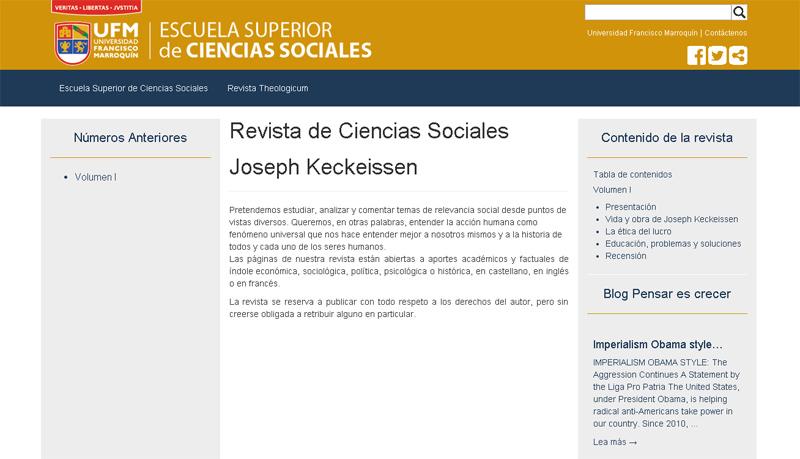 La revista se halla  en http://escs.ufm.edu/revista-joseph-keckeissen/