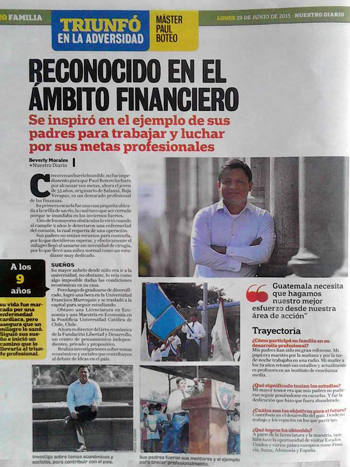 Nuestro Diario publicó un reportaje sobre Boteo y sus éxitos el 29 de junio de 2015.
