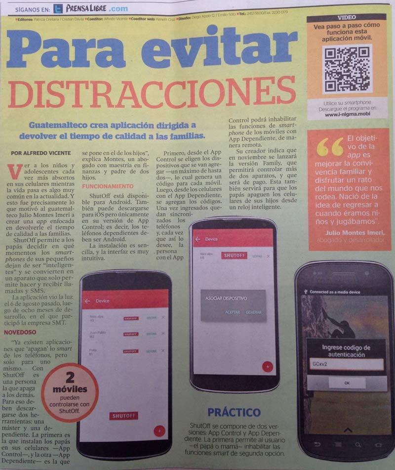 El diario Prensa Libre publicó un reportaje sobre ShutOff.