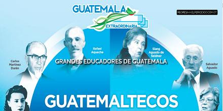Manuel F. Ayau, Rigoberto Juárez-Paz, Salvador Aguado y Siang Aguado de Seidner en la serie de Grandes Educadores de Guatemala